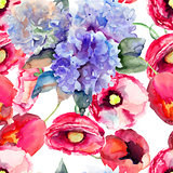 Seamless wallpapers with Beautiful summer flowers
