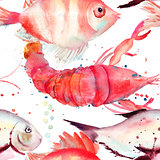 Watercolor illustration of lobster and fish
