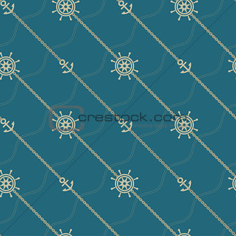 Anchor, wheel and chain. Seamless marine  pattern.