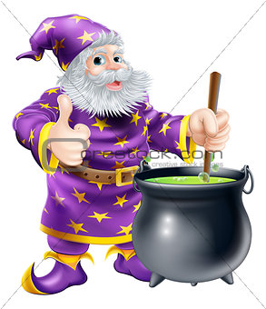 Wizard stirring cauldron