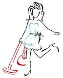 Woman vacuuming at house