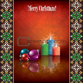 abstract celebration grunge greeting with Christmas decorations