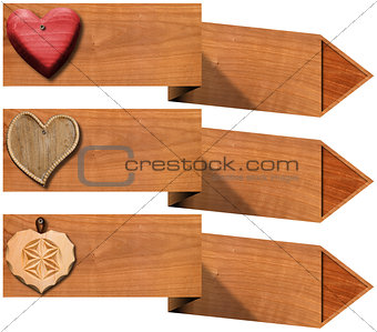 Three Banners with Hearts and Arrows