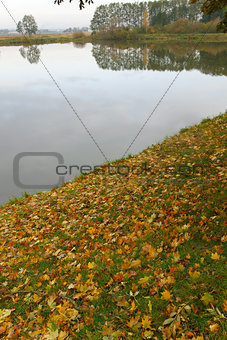 Autumn landscape with water and beach