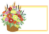 Basket of abstract flowers with frame