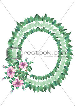 Frame from abstract flowers and leaves