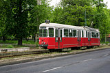 Old red tram in Miskolc, Hungary