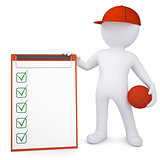 3d basketball player with the checklist