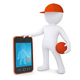3d basketball player with the telephone