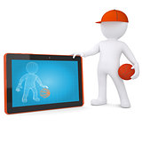 3d basketball player with the tablet PC