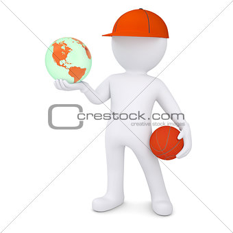 3d basketball player with the earph