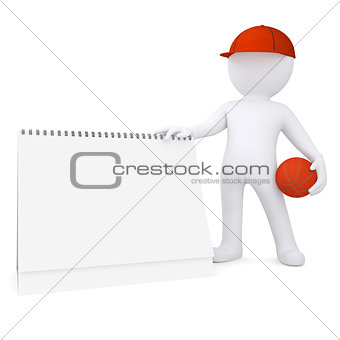 3d basketball player with the calendar