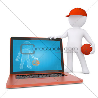 3d basketball player with the laptop