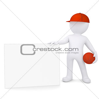 3d basketball player with the white card