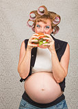 Hungry Pregant Woman Eating