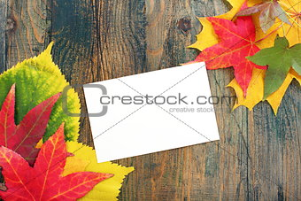 Card and autumn leaves.