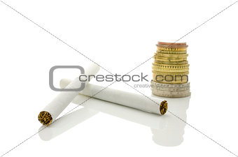Cigarettes and Euro coins