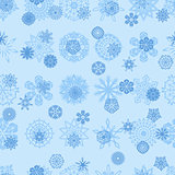 Blue snowflakes seamless illustration