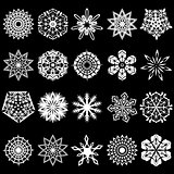 Set of snowflakes silhouettes