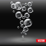 SPA aqua soap bubbles background on black background.