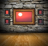 grunge interior with abstract view to sunset