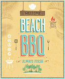 Vintage Beach BBQ poster. Vector background.