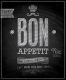 Vintage Bon Appetit Poster - Chalkboard.