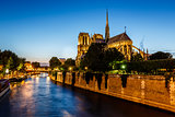 Notre Dame de Paris Cathedral and Seine River in the Evening, Pa