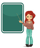 Girl pointing to blackboard