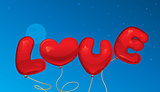 Love balloons text and heart shape