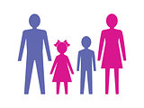Family with children. Vector illustration.