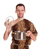 Happy smiling wild man with open stew pan
