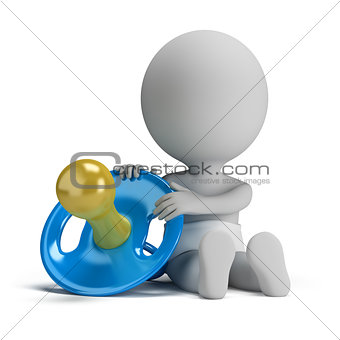 3d small people - child and the pacifier