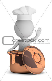 3d small people - cook in a copper pan