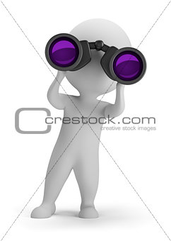3d small people - looking through binoculars