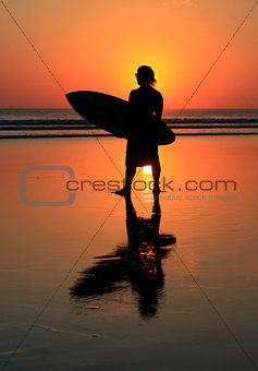 Surfer on sunset
