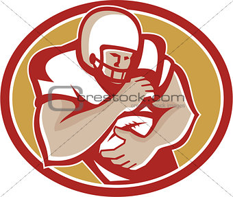 American Football Running Back Oval Retro