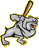 Bulldog Dog Baseball Hitter Batting Cartoon