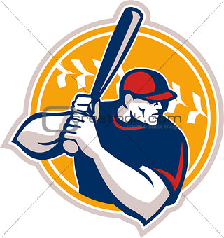 Baseball Batter Hitter Batting Side Retro