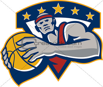 Basketball Player Holding Ball Star Retro