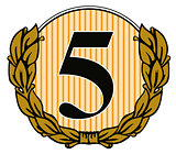 Number 5 in Circle with Laurel Leaves
