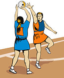 Netball Player Shooting