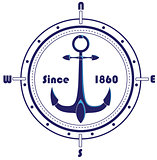 Anchor with a compass frame