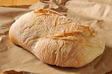 Ciabatta Loaf of Bread in Brown Paper