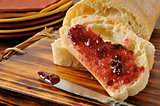 Sliced bread with jam