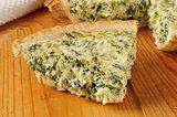 Slice of spinach quiche