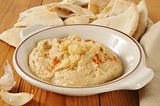 Hummus with garlic and pita bread