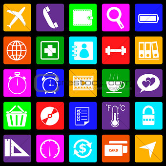 Application colorful icons on black background. Set 2