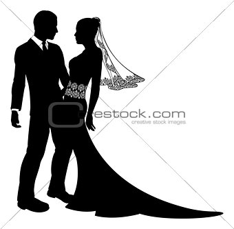 Bride and groom wedding couple silhouette