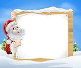 Snow scene Christmas Santa Sign